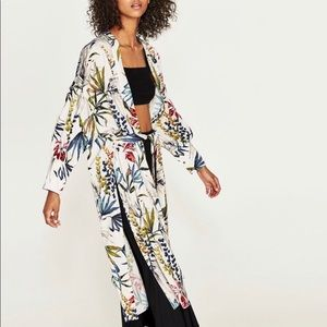 Zara Floral Kimono with Cuffed Puff Sleeves